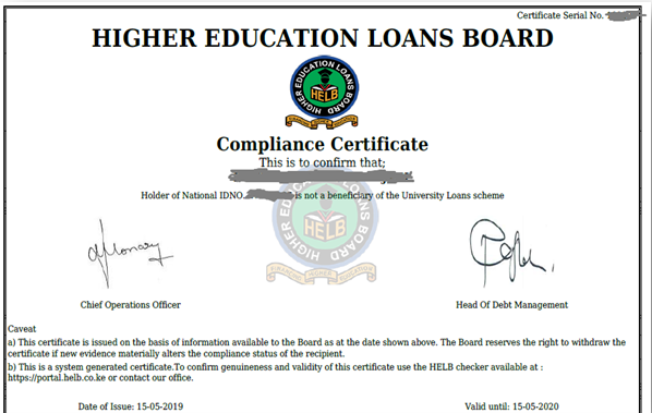 Free helb Compliance certificate application